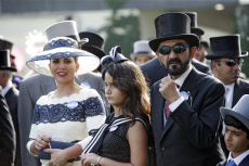 Royal Ascot, Portrait of Sheikh Mohammed bin Rashid al Maktoum, his daughter Jalila and his wife Princess Haya of Jordan