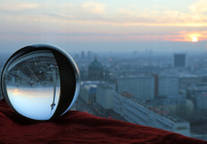 Berlin, Germany, city view in the city east at sunset in a glass ball