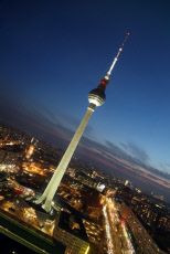 Berlin, Germany, the Berlin TV tower in the evening