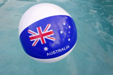 Australian Flag on a Ball in a Swimming Pool