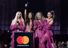 Little Mix perform on stage and win Best Video Artist at the 2019 Brit Awards