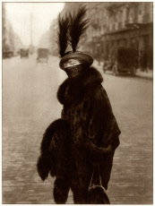 Parisian woman wearing toque hat with feathers 1914