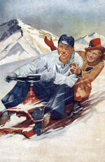 1950s - Young couple having fun on a snowmobile