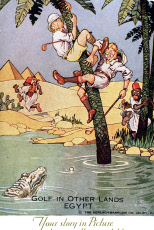 Comic postcard, Golf in other lands, Egypt