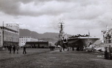 HMS Albion, aircraft carrier, with aircaft on deck