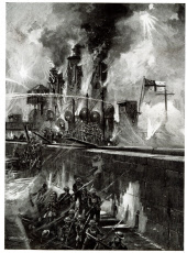 Storming the Mole at Zeebrugge from HMS Vindictive, WW1