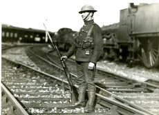 Soldier guarding GWR railway line at Slough
