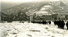 British troops crossing the frozen Rhine, Germany