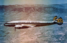 Chicago & Southern Airlines Constellation plane in flight