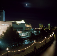 The Festival Hall and Westminster at night