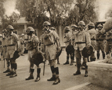 British troops in gas masks - Uprising in Nicosia