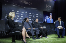 Football legend Hublot Event Pele meeting with MBappe