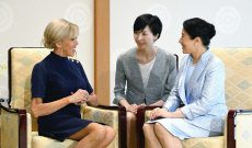 President Macron's wife meets Japan's Empress Masako in Toky