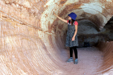Australian girl visiting in Coober Pedy South Australia