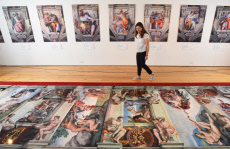 The replica of the roof of the Sistine Chapel on display at Winchester Discovery Centre.