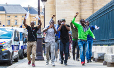 'Black Vests' undocumented migrants protest, Paris, France - 12 Jul 2019