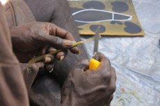 Aboriginal artist preparing a paintbrush from a reed plant Northern Territory Australia