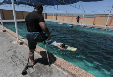 Swimming training for amputees in Gaza, Palestine - 30 Jul 2019