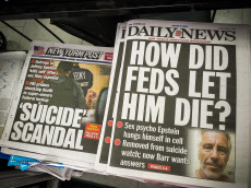 New York newspaper coverage of the death of Jeffrey Epstein