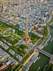 Aerial views of Paris, France - May 2019