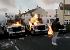 SHOCKING FOOTAGE SHOWS RIOTERS ATTACKING POLICE WITH FIRE BOMBS IN NORTHERN IRELAND