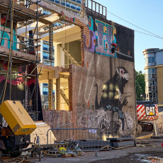 Exclusive - Preservation project to lift wall to save Banksy rat painting from destruction, London, UK - 2019