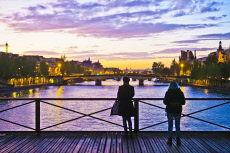 Pont des Arts, sunset, Paris.