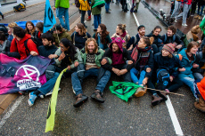 Climate change Protest on Blauwbrug Bridge in Amsterdam, Netherlands - 12 Oct 2019