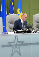 Russia: Russia President Putin controls ballistic missile test launch during Thunder-2019 drill