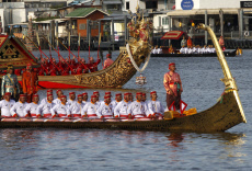 Rehearsals for the grand Royal Barge Procession in Bangkok, Thailand - 17 Oct 2019