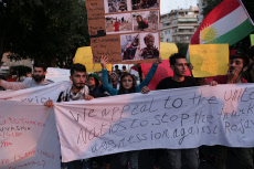 Protest against Turkey attacks on Syria in Thessaloniki, Greece - 17 Oct 2019