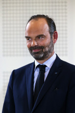 Edouard Philippe and Jean-Paul Delevoye a debate on the theme pensions in Lons le Saunier