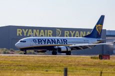 Ryanair plane landing at Stansted Airport, Essex, UK - Sep 2019