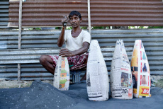 Workers making firecrackers by hand, Barpeta, Assam, India - 18 Oct 2019