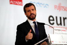 People's Party leader Pablo Casado attends a briefing breakfast before visiting Barcelona