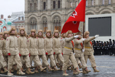 Russia: Dress rehearsal of Red Square march marking 78th anniversary of 1941 October Revolution Parade