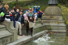 Fish rescue at the Bethesda Fountain in Central Park, New York, USA - 05 Nov 2019