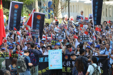 China: Thousands of Hong Kong citizens hold a rally to support Hong Kong police