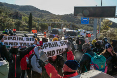 Catalonian protesters block the road between France and Spain, Girona Spain - 12 Nov 2019