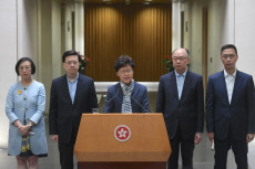 Carrie Lam attends a press conference to reiterate that violence is never the answer to solve social problems in Hongkong,China on 11th November, 2019