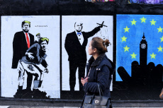 Political graffiti art by Loretto, London, UK - 14 Nov 2019