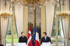 Elysee Palace French President Emmanuel Macron during a press conference with Danish Prime Minister Mette Frederiksen