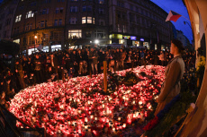 The Velvet Revolution memorial, Narodni Street, candles