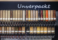 Unpacked exhibition stand in the organic market, ANUGA food fair, Cologne, North Rhine-Westphalia, Germany