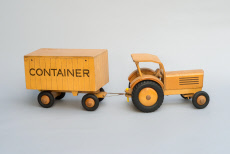 Tractor with trailer as wooden toy