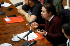 Pablo Iglesias participates during a meeting at Complutense University of Madrid