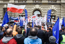 Trade Unionists workers protest in Krakow, Poland - 21 Nov 2019