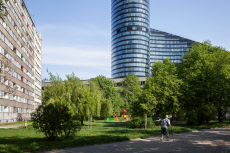 Prefabricated buildings and office tower in Wroclaw