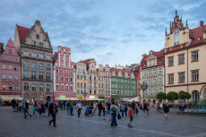 Old town of Breslau at the market place Rynek