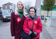 Labour Party candidate Mhairi Threlfall and Nia Griffith visit Filton and Bradley Stoke in Gloucestershire, UK - 21 Nov 2019